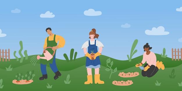Люди, работающие вместе в саду