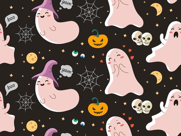 ハロウィーンのかわいい幽霊とのシームレスなベクターパターン