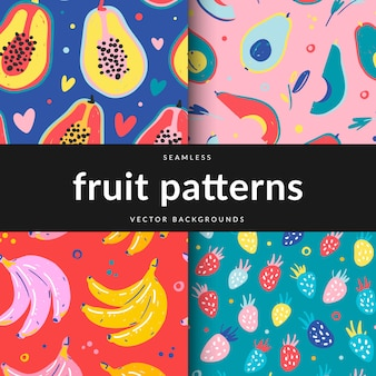 Коллекция бесшовных узоров с различными фруктами