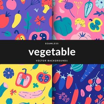 Набор бесшовных паттернов с различными овощами