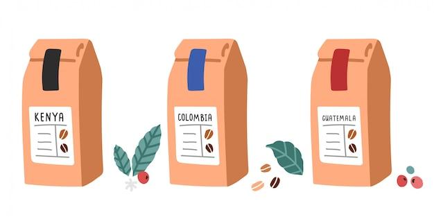 Кофейные смеси в крафт-бумажной упаковке для кофейни