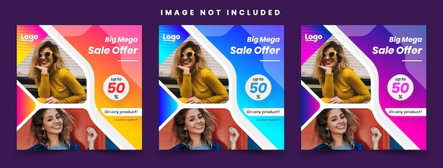 Мода продажа рекламные красочные градиент социальные медиа опубликовать шаблон