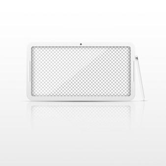 透明な画面を持つ白いタブレットコンピュータ