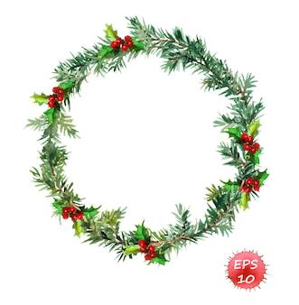 クリスマスリース-モミの木とヤドリギ。水彩