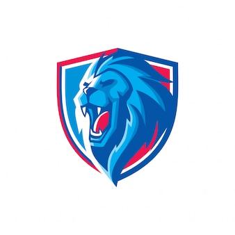スポーツライオンヘッドマスコットロゴ
