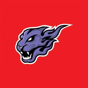 スポーツパンサーヘッドマスコットロゴ