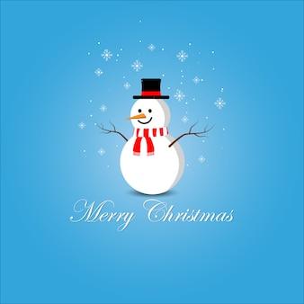 かわいい雪だるまメリークリスマスベクトル