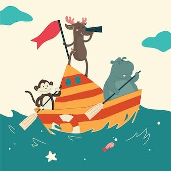 海でかわいい動物のセーリングボート