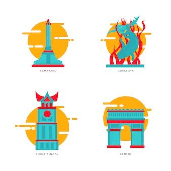 インドネシアの都市ランドマークのアイコンベクトル