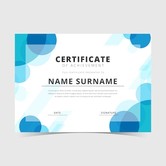 Шаблон сертификата голубой пузырь