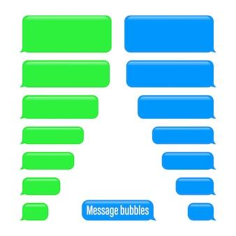 フラットメッセージバブル。チャットインターフェースメッセージの泡
