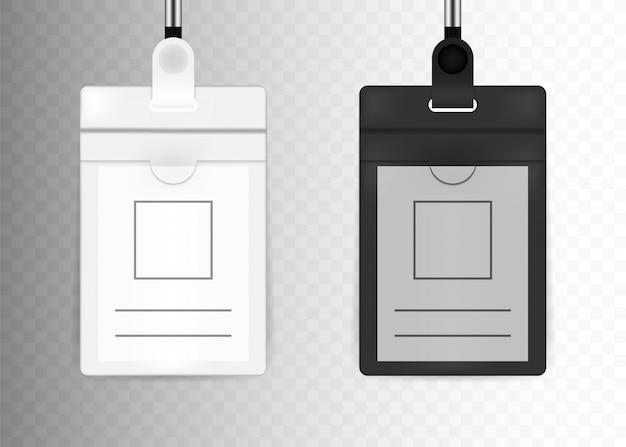 Прозрачный пластиковый значок удостоверения личности с белой шеей ремешок.