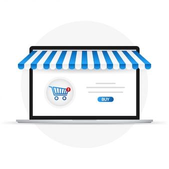 シルバーオープンノートパソコンと画面購入。コンセプトのオンラインショッピング。