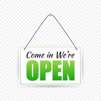 Знак открытой двери. дверной знак. метка с текстом в плоском стиле.
