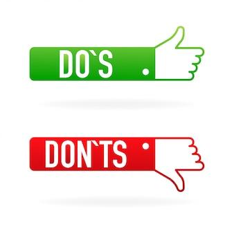 Флажки кнопки пользовательского интерфейса с делать и не делать.
