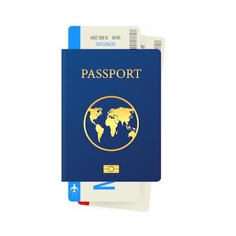 白で隔離されるパスポートと搭乗券