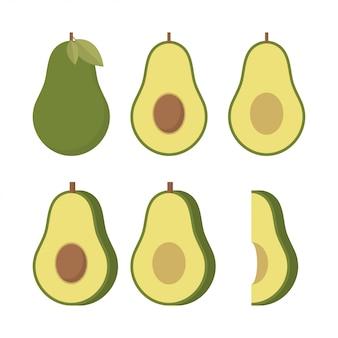 Реалистичные векторные иллюстрации авокадо.