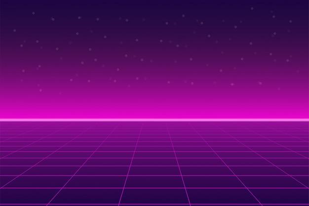 Яркий ретро розовый фиолетовый фон футуристический пейзаж