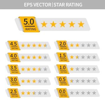 星評価のセット。金の星のアイコンで顧客レビュー。