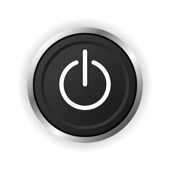 電源ボタンのアイコン。フラットスタイルのボタン。