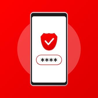 Смартфон разблокирован и уведомление о пароле