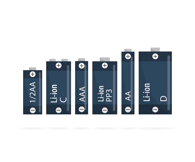 Векторный набор глянцевых щелочных батарей разного размера.