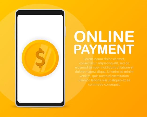 Шаблон мобильного платежа, смартфон на экране показывает монету