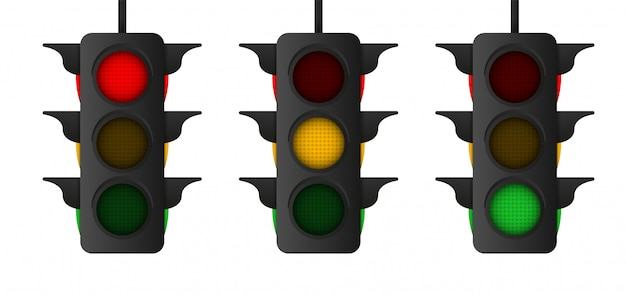 反射と影の図のトラフィックライト。