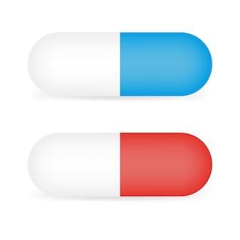 赤と青のテンプレートの丸薬カプセル分離の準備ができて、