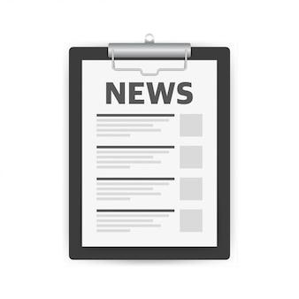ニュースクリップボードニュースフォームのシンプルなソリッドアイコン