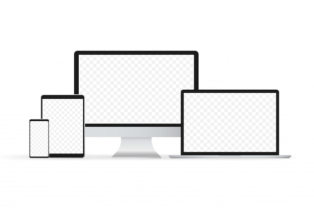 ラップトップ分離ベクトル。ガジェットイラスト。現代のコンピューター、ラップトップ、スマートフォン