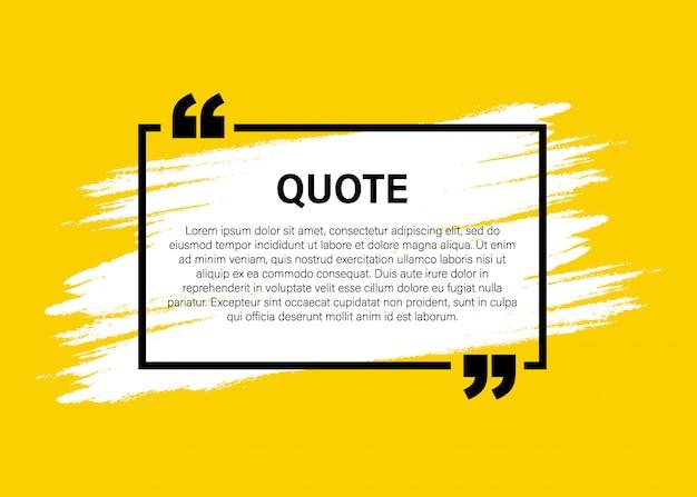 Модный блок цитата современные элементы творческий цитата и шаблон текстового фрейма комментария