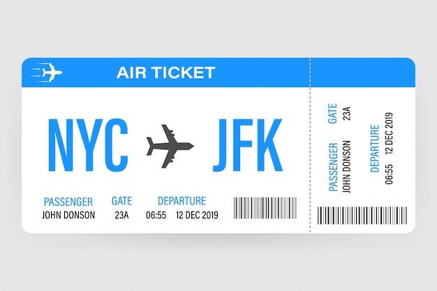 飛行時間と乗客名を持つモダンでリアルな航空チケットデザイン。ベクトルイラスト