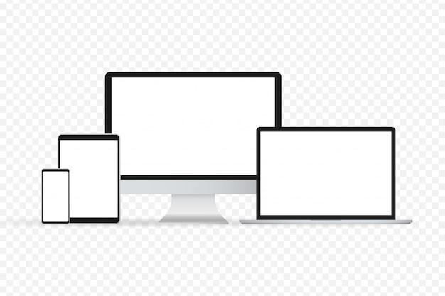白い背景の上のラップトップ分離ガジェットイラスト現代コンピューターラップトップスマートフォン