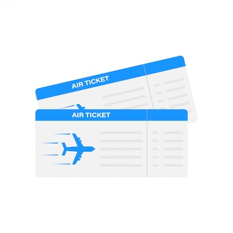 Современный и реалистичный авиабилет с указанием времени полета и имени пассажира