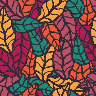 手描きの自然の葉とシームレスなパターン
