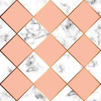 Мраморная текстура, бесшовный узор с розовыми квадратами и золотой геометрической линией
