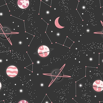 宇宙と惑星と星のシームレスなパターン