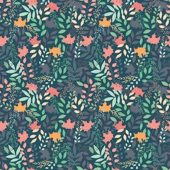 花の装飾的な要素と秋のシームレスなパターン