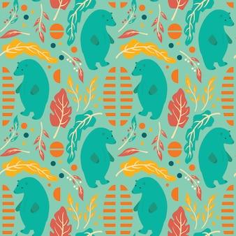 シームレスパターンデザインの手描きの花、花の要素とクマ