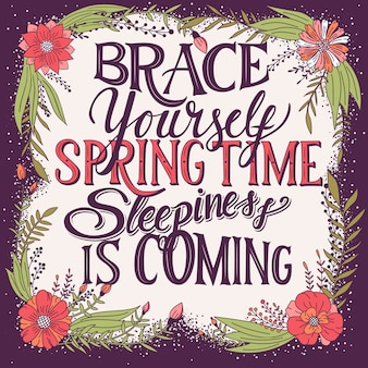 眠気が来ている春の時間を自分自身をブレース