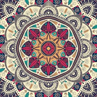 Красочная декоративная цветочная этническая мандала