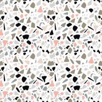手描きの岩とテラゾーのシームレスなパターンデザイン。