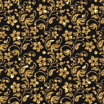 黄金の花のパターンの背景