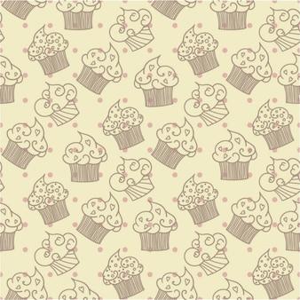 ドットで手描きカップケーキパターン