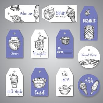 乳製品の甘いタグコレクション手描きのベクトルぶら下げ