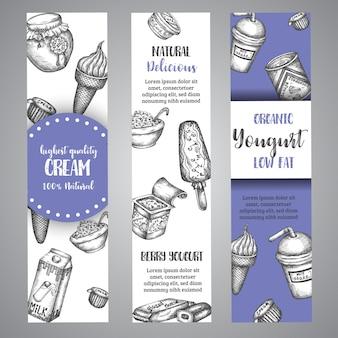 乳製品の甘いバナーコレクション手描きのベクトル図