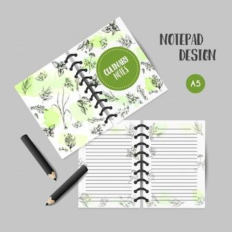 ハーブとスパイスの料理本。ハーブ、植物、スパイス手描きのノートデザイン。