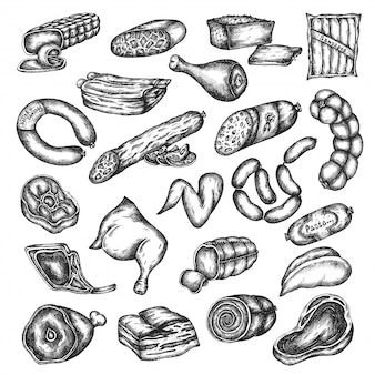 Набор рисованной эскиз мясных продуктов. элементы дизайна для меню, мясной, ресторан, гриль-бар. векторные иллюстрации в винтажном стиле говядина, стейк из свинины, курица