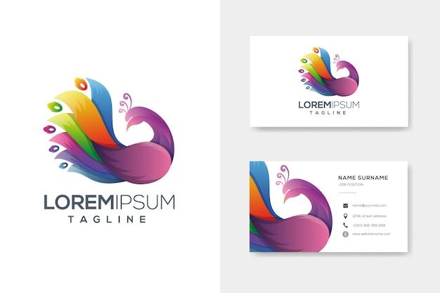 名刺とカラフルな抽象的な孔雀のロゴ